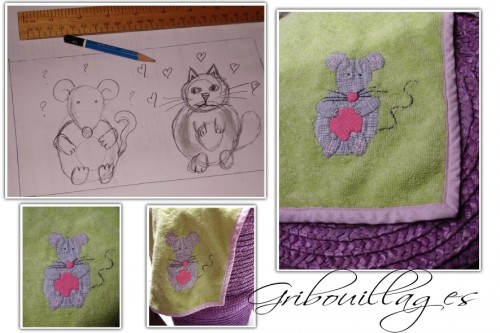 chat, souris, cat, mouse, applique, fabric